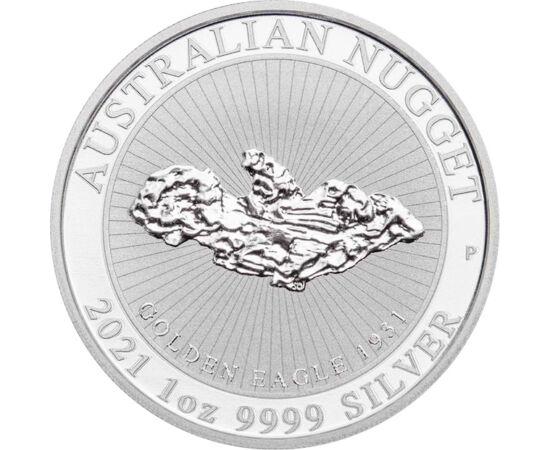 Pepită gigantică de aur, 1 dolar, argint, Australia, 2021