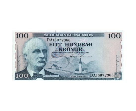 Poarta Iadului pe bancnotă, 100 coroane, Islanda, 1961