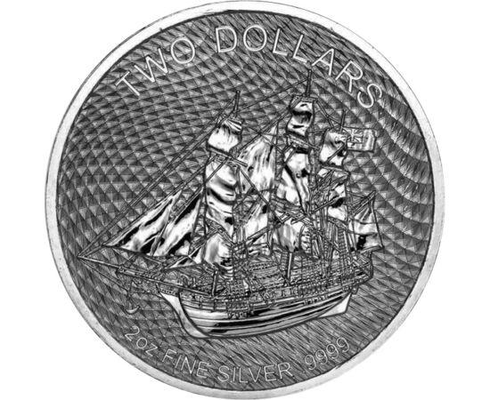 Răscoală pe corabia Bounty, 2 dolari, argint, Insulele Cook, 2020
