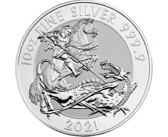 10 lire, Sf. Gheorghe şi balaurul, , greutate, argint de 999,9/1000, 311 g, Marea Britanie, 2021