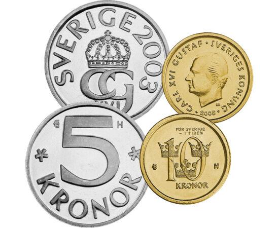 50 öre, 1, 5, 10 coroane, ,  , , Suedia, 2001-2005