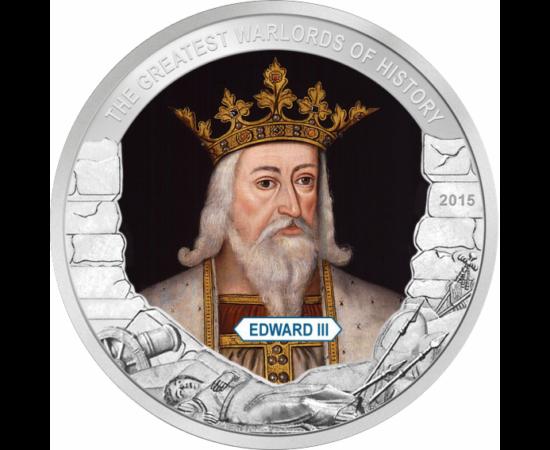 // 1 dolar, Palau, 2015 // - Regele Angliei din casa regală Plantagenet, nepotul lui Filip al IV-lea al Franţei, unul dintre ultimii regi cavaleri. A revendicat tronul francez, care a dus la declanşarea Războiul de 100 de Ani.