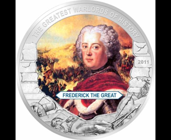 // 5 dolari, Liberia, 2011 // - Frederic al II-lea a fost rege al Prusiei din dinastia de Hohenzollern. A obţinut numeroase victorii militare, sub domnia lui Prusia a devenit una dintre cele mai puternice ţări din Europa.