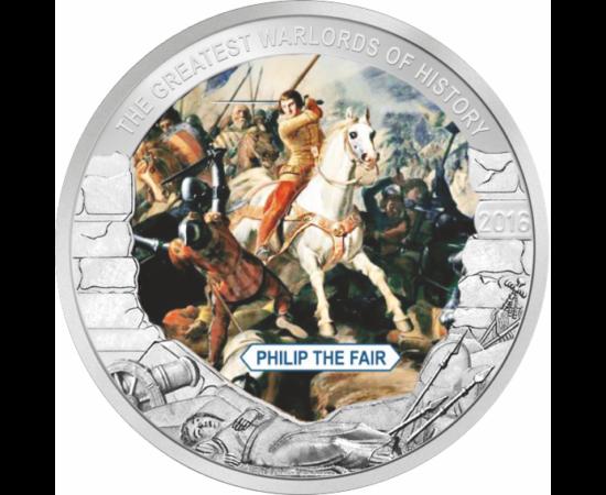 // 1 dolar, Palau, 2016 // - A fost regele Franţei din dinastia Capeţienilor.  Numele lui este legat de mai multe fapte majore, cum ar fi instalarea papalităţii la Avignon şi dizolvarea ordinului Cavalerilor Templieriegală Plantagenet, nepotul lui Filip a