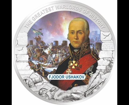 // 1 dolar, Palau, 2014 // - Fyodor Ushakov a fost celebrul amiral al flotei ruse, mare erou naţional, care a câştigat toate bătăliile navale militare.