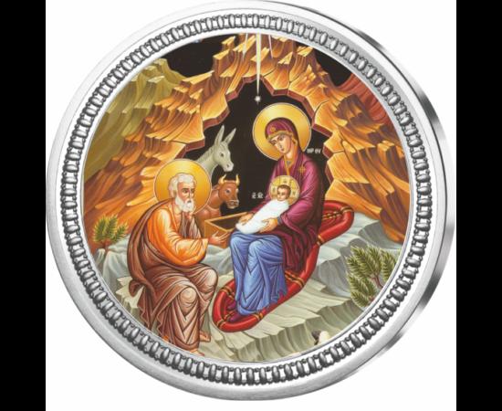 """// medalie, Naşterea lui Iisus Hristos, argint pur, ,  // Naşterea lui Iisus Hristos este sărbătoarea creştină celebrată la 25 decembrie în fiecare an. Medalia pictată reprezintă naşterea Domnului, """"Sfânta Familie"""" este înfăţişată într-o peşteră, unde Fec"""