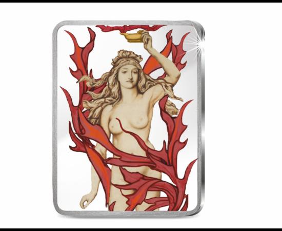 // Focul, element primordial, 1 uncie argint pur // - Medalia pictată de 1 uncie argint pur prezintă FOCUL, elementul primordial, care semnifică atât purificarea şi renaşterea, cât şi distrugerea şi anihilarea. Încă de la începuturile civilizaţiei, acest