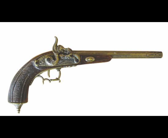 Pistol decorat estetic, o replică de armă bogat ornamentată. Modul de aprindere, utilizat timp îndelungat în istoria armelor a fost sistemul cu piedică cu cremene, deoarece era mai ieftin şi mai sigur decât sistemul de aprindere cu fitil.