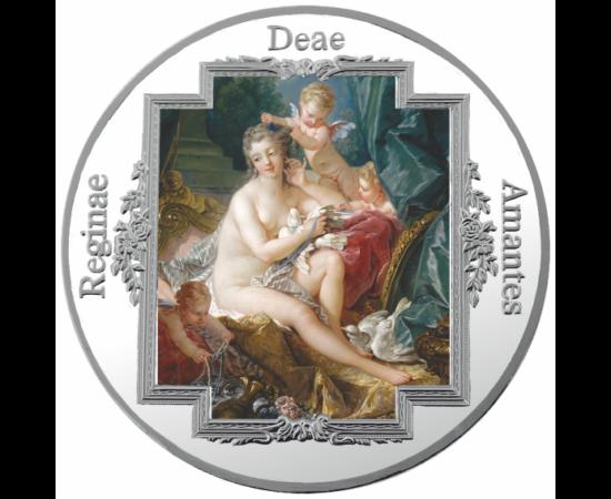 // , Nuduri artistice - Medalie pictată, placată cu argint, aliaj de cupru, placat cu argint, ,  // Frumuseţea feminină reprezintă în fiecare epocă inspiraţia şi muza artiştilor. Frumuseţea naturală a trupului feminin, dorinţa pasionată şi amorul etern su