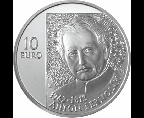 // 10 euro, argint de 900/1000, Slovacia, 2012 // - Anton Bernolák a fost un lingvist slovac, preot catolic şi fondatorul limbii literare slovace. În anul 1787 a codificat primul standard de limbă slovacă, care era bazat pe dialectele slovace occidentale,