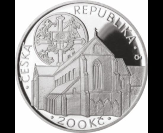 // 200 coroane,Mănăstirea Coroana de Aur, argint de 925/1000, Cehia, 2013 // Monedă comemorativă splendidă, care înfăţişează una dintre cele mai vechi mănăstiri din Cehia, numită Coroana de Aur. Conform legendei, în această mănăstire s-a păstrat o spină d