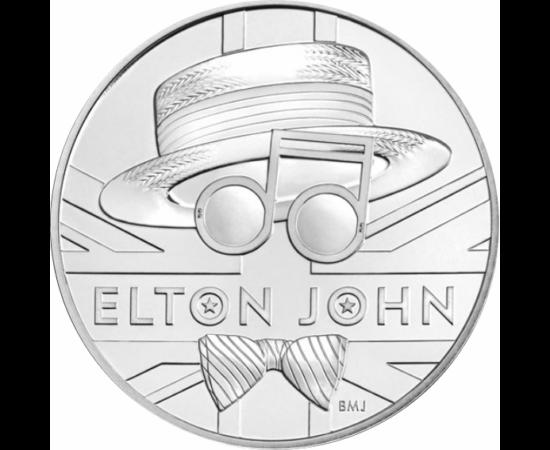 // 5 lire, Marea Britanie, 2020 // - Moneda comemorativă înfăţişează pălăria unică de paie, faimoşii ochelari-emblemă de soare şi papionul lui Elton John. Moneda este ambalată decorativ, elegant, în care putem citi despre viaţa muzicianului şi despre melo