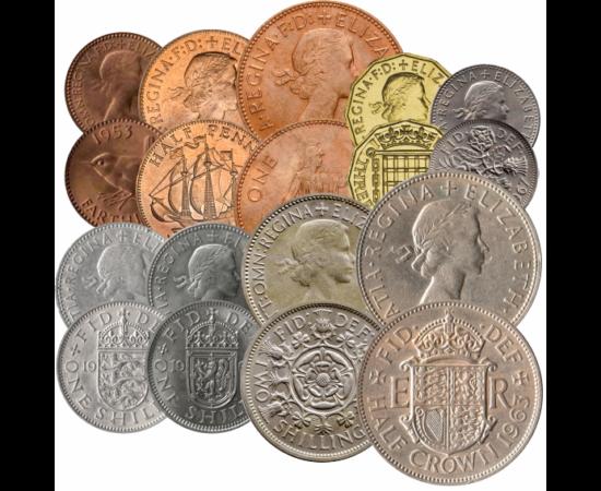 Set monetar britanic, 1 farthing, ½, 1, 3, 6 penny, 2x1, 2 şiling, ½ coroană, 1953-1970