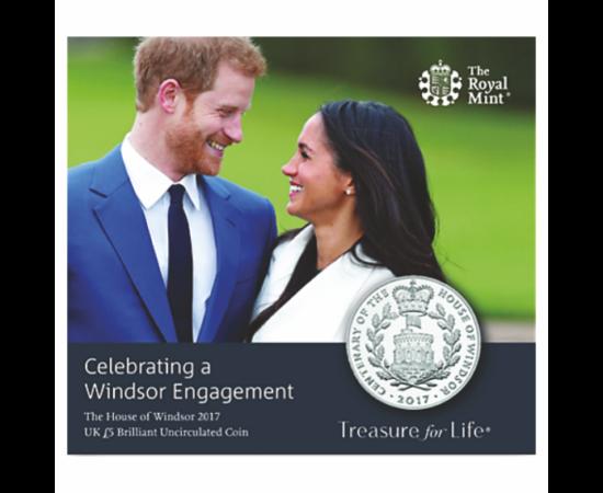 // CuNi, 5 lire, 28,28 g, Marea Britanie, 2017 // Ducele Harry şi soţia lui, ducesa de Sussex anul acesta, în luna ianuarie au luat decizia de a se retrage din Casa Regală. Nu şi-au motivat această alegere, dar un posibil motiv ar fi umilinţa la care a fo
