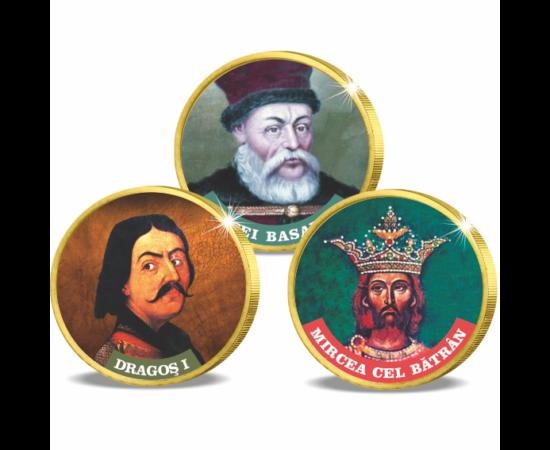 Mari domnitori români, set de 3 monede