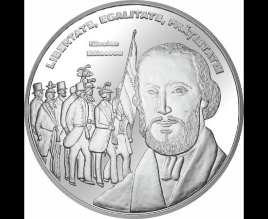 // medalie placată cu argint, Nicolae Bălcescu, calitate proof, România,  // Nicolae Bălcescu este figura cea mai luminoasă a Revoluţiei de la 1848, a luptat pentru dobândirea drepturilor fundamentale ale omului: libertate, egalitate şi fraternitate.
