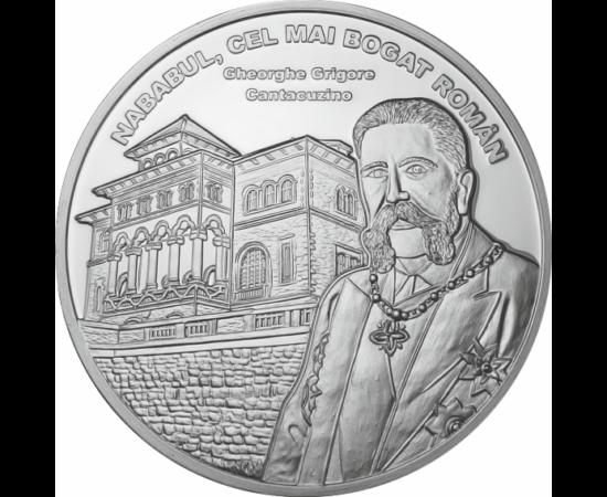 // medalie placată cu argint, Gheorghe Grigore Cantacuzino, calitate proof, România,  // Ales ca primar al Bucureştiului şi prim-ministru al României de două ori, a fost un cunosut deputat şi senator român.