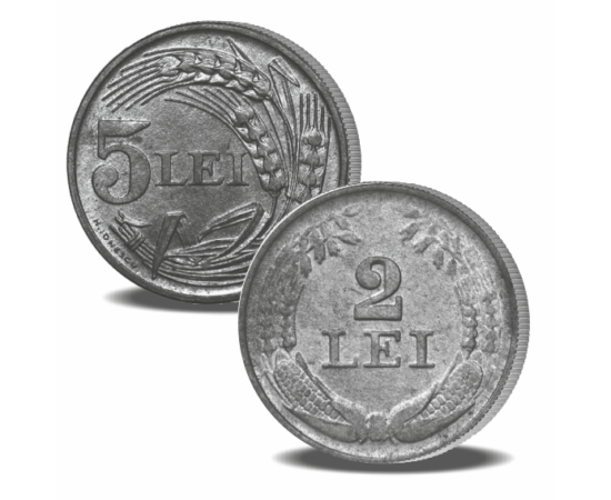 """// monedele regelui Mihai I, set de 2 monede // Regele Mihai I şi-a exprimat dăruirea, sentimentul de datorie şi mândria faţă de ţara noastră prin înfăţişarea Coroanei României şi inscripţia """"Regatul României"""" pe moneda de 2 lei, bătută la Monetăria Statu"""
