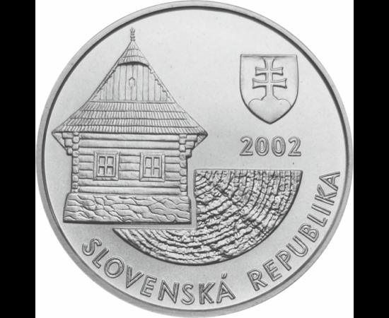 // 200 coroane, argint de 750/1000, Slovacia, 2002 // - Clădirile de lemn Vlkolínec din Tatra Mare, care fac parte astăzi din Patrimoniul Mondial UNESCO, au apărut prima oară pe monede de argint în anul 2002. Patrimoniul Mondial UNESCO a fost extins ulter