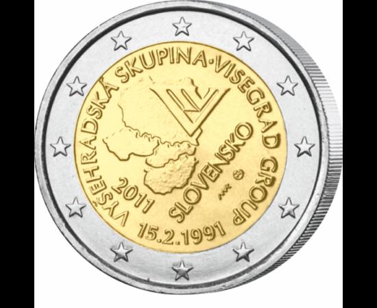 // 2 euro, Slovacia, 2011 // - Slovacia a comemorat prin emiterea monedei jubiliare de 2 euro, aniversarea a 20 de ani a constituirii Grupului de la Visegrád - V4. Unul dintre principalele obiective ale V4 l-a constituit integrarea în UE a membrilor săi.