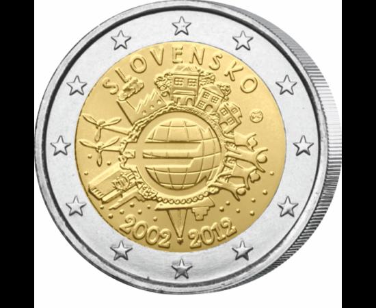 // 2 euro, Slovacia, 2012 // - Monedele şi bancnotele euro aniversează 10 ani de existenţă! Pentru a comemora acest eveniment fiecare ţară din zona euro va emite o nouă monedă de 2 euro cu motiv comun.