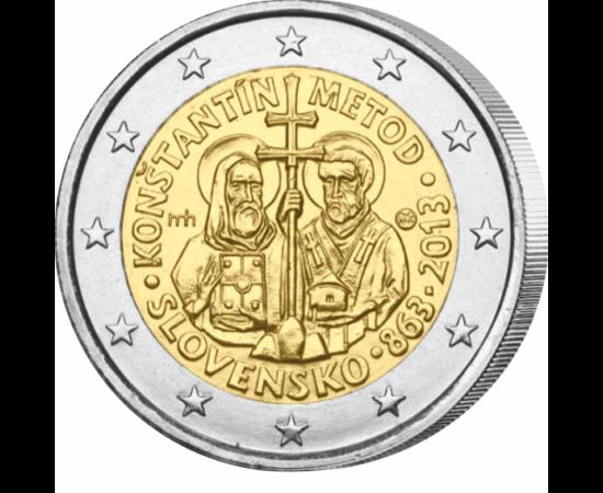// 2 euro, Slovacia, 2013 // - Întemeietori ai scrierii slave, fraţii Chiril şi Metodie au sosit pe teritoriul Marii Moravii în urmă cu 1150 de ani. Banca Naţională a Slovaciei a emis cu această ocazie o monedă comemorativă de 2 euro.