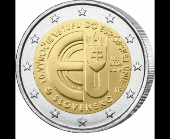 // 2 euro, Slovacia, 2014 // - Slovacia a devenit, în mai 2004, stat membru al Uniunii Europene. Împlinirea celor zece ani a fost sărbătorită cu această monedă jubiliară de 2 euro.