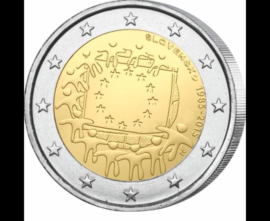 // 2 euro, Slovacia, 2015 // - În 8 decembrie 1955, Consiliul European a aprobat drept simbol al întregii Europe steagul cu cele 12 stele. Ulterior, acesta  a devenit şi steagul UE. Numărul stelelor este simbolic şi nu are legătură cu numărul de state mem