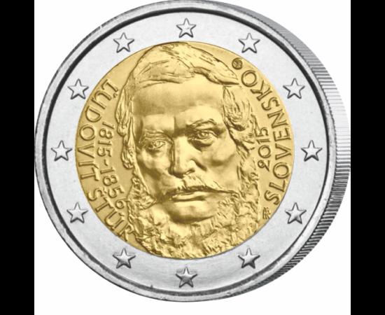 // 2 euro, Slovacia, 2015 // - Slovacia a emis din momentul introducerii monedei euro, adică din anul 2009, opt monede jubiliare de 2 euro. Această monedă nouă este prima emisie în onoarea unui patriot. Pe reversul monedei apare poetul şi lingvistul Ľudov