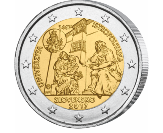 // 2 euro, Slovacia, 2017 // - Moneda comemorativă de 2 euro, emisă de Slovacia în anul 2017, aduce omagiu celei mai vechi academii fondată în capitala Slovacă. Universitatea Istropolitana a fost construită de către faimosul Matei Corvin în anul 1465 şi a