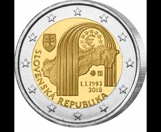 // 2 euro, Slovacia, 2018 // - Acum 25 ani, s-a născut Slovacia, după destrămarea Cehoslovaciei. Confederaţia clădită acum exact 100 de ani pe ruinele monarhiei austro-ungare a trăit 20 de ani, iar după aceasta s-a reînfiinţat între anii 1945-1992. La 1 i
