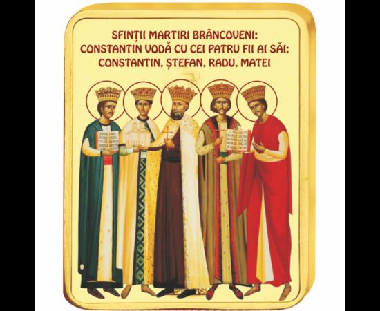// medalie, Sfinţii Martiri Brâncoveni, CuNi placat cu aur, România,  // Constantin Brâncoveanu a domnit peste un sfert de veac, apărând Ortodoxia pe pământul românesc şi străin. Alături de fiii săi, a fost decapitat de turci, pentru că a refuzat să se le
