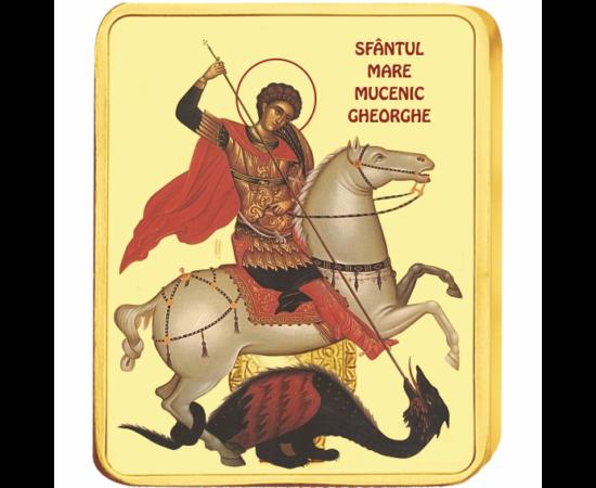 // medalie, Sfântul Mare Mucenic Gheorghe, CuNi placat cu aur, România,  // Este unul dintre cei mai cunoscuţi apărători ai creştinismului. În ţara noastră multe biserici sunt ridicate în cinstea lui. De asemenea este ocrotitorul Armatei Române, a cărei z