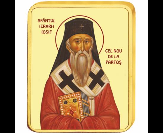 // medalie, Sfântul Ierarh Iosif cel Nou de la Partoş, CuNi placat cu aur, România,  // A fost un pustnic ortodox român, s-a călugărit de tânăr cu numele de Iosif şi a parcurs toate treptele slujirii bisericii la Mănăstirea Pantocrator. De bună voie s-a r