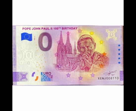 // 0 euro, Bancnotă suvenir 0 euro, bancnotă suvenir, , 2020 // Papa Ioan Paul al II-lea a fost primul papă din istorie care a vizitat România, în anul 1999. Anul acesta a apărut o bancnotă suvenir unică, cu ocazia comemorării a 100 de ani de la naşterea