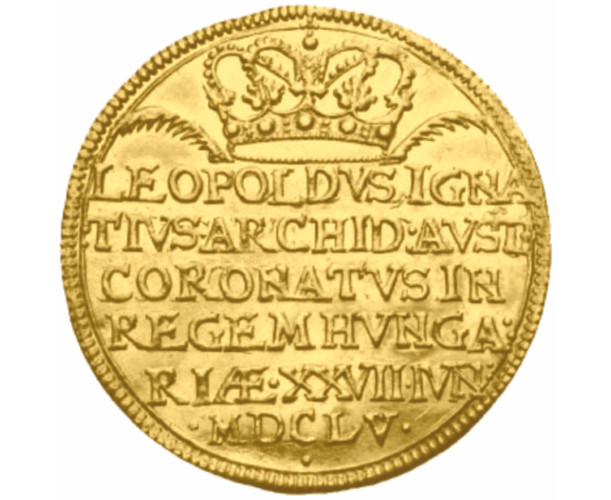 // placat cu aur, Leopold I, monedă de încoronare, calitate proof, ,  // Leopold I a fost împărat al Sfântului Imperiu Roman, de asemenea rege al Ungariei, Boemiei, Croaţiei, arhiduce de Austria. După decesul tatălui său, Ferdinand al II-lea, a fost ales