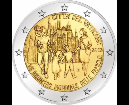 """// 2 euro, În sprijinul familiilor, CuNi, Vatican, 2012 // Moneda de 2 euro emisă de Vatican reprezintă """"Cea de-a VII-a Întâlnire Mondială a Familiilor"""". Acest eveniment, a fost instituit în anul 1994 de Papa Ioan Paul al II-lea, are loc o dată la trei an"""