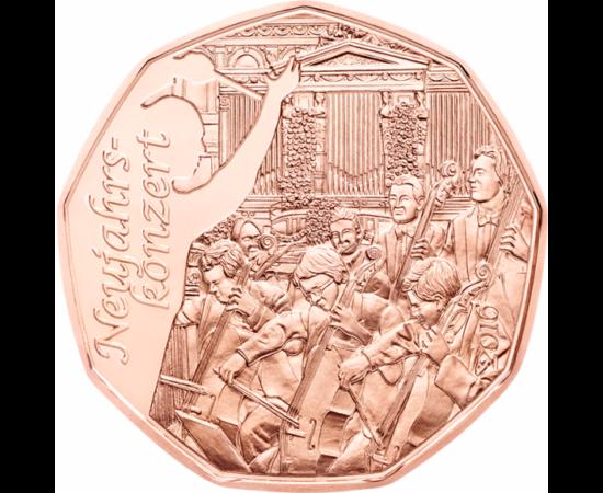 Moneda populară austriacă de 5 euro cu 9 laturi întâmpină vestitul concert de Anul Nou din Viena.