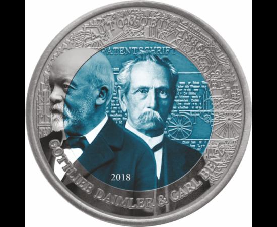 Monedă specială, alcătuită din titaniu de 4,5 mm (!!), exclusivă, datorită culorii albastru-oţel, din interior. Vă livrăm în săculeţ de catifea. 2 cedi, Benz-Daimler, 2018 Ghana