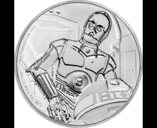 C-3PO - companionul său R2D2 - emisiune numismatică, cu tematica Star Wars. Ambalat în cutie elegantă.
