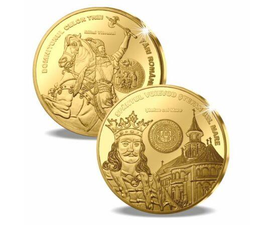medalii, Ştefan cel Mare şi Mihai Viteazul, înnobilate cu aur pur, România,  // Carol I a fost domnitorul ţării din 10 mai 1866. A obţinut independenţa ţării, a redresat economia şi a pus bazele Dinastiei Române. Ferdinand I a