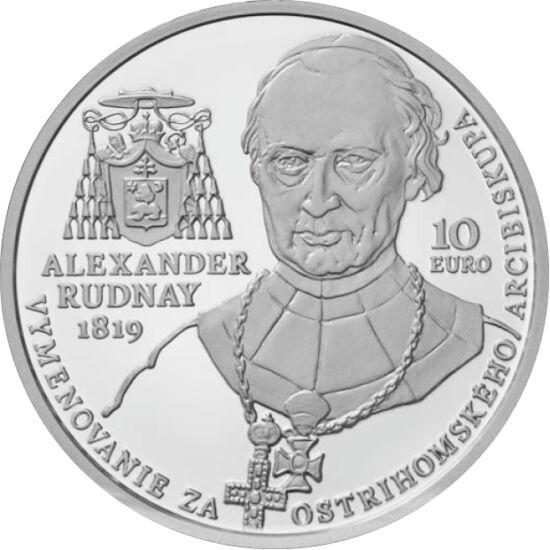 // 10 euro, argint de 900/1000, Slovacia, 2019 // - Moneda comemorativă de argint aduce omagiu celei mai mari biserici din Ungaria, ce poartă hramul Adormirii Maicii Domnului şi al Sfântului Adalbert. Pe revers apare portretul arhiepiscopului Sándor Rudna