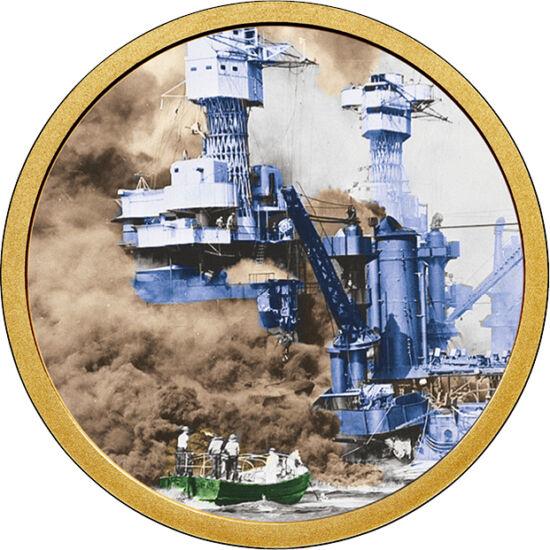 // 1 dolar, SUA, 2007-2016 // - La 7 decembrie 1941, baza navală americană Pearl Harbor a fost atacată de Marina Imperială Japoneză, acesta fiind un moment de cotitură al celui de-Al II-lea Război Mondial. Prin atacul devastator al japonezilor, războiul e
