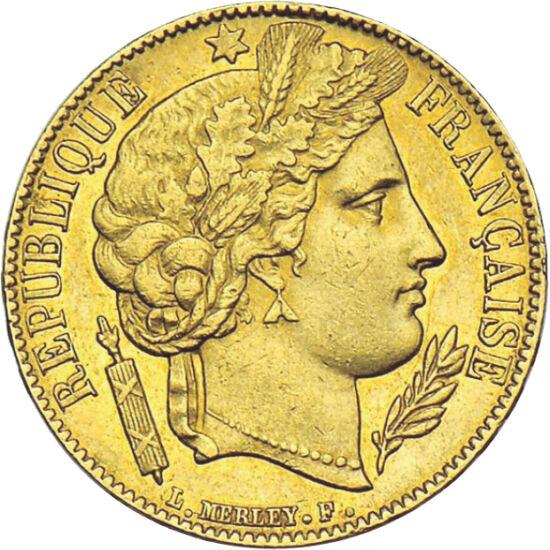 """// 20 franci, aur de 900/1000, Franţa, 1849-1851 // - În timpul celei de-A Doua Republici Franceze, care a durat doar cinci ani, portretele regale de pe monede au fost înlocuite cu imaginea zeiţei Ceres. Astfel, monedele cu imaginea """"Ceres"""" sunt mult mai"""