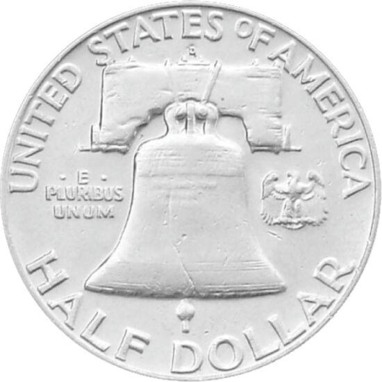 // 1/2 dolar, argint de 900/1000, SUA, 1948-1963 // - Monetăria SUA a proiectat o monedă cu portretul lui Benjamin Franklin şi Clopotul Libertăţii. Comitetul de aprobare a criticat prezenţa clopotului în loc de vultur şi se temea că crăpătura de pe clopot