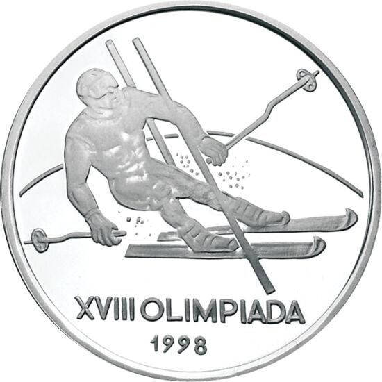 // 100 lei, argint de 925/1000, România, 1998 // - Emisiune din argint în amintirea Olimpiadei de iarnă din secolul trecut, organizată la Nagano în anul 1998. Moneda de calitate proof înfăţişează proba de schi alpin, prin prezentarea unui sportiv trecând