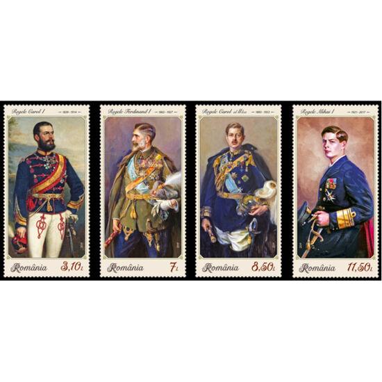 // 3,10, 7, 8,50, 11,50 lei, România, 2019 // - Setul de 4 timbre ilustrează elementul specific reprezentărilor regilor României – respectiv uniforma regală, purtată cu demnitate atât de Carol I, de Ferdinand I, Carol al II-lea, cât şi de Mihai I.