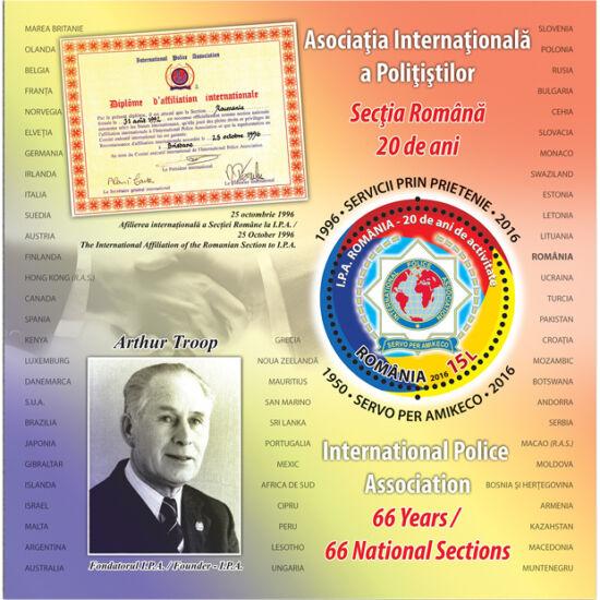// 15 lei, România, 2016 // - Coliţa dantelată ilustrează lista celor 66 de ţări care aparţin organizaţiei, diploma prin care I.P.A. România s-a afiliat asociaţei şi pe Arthur Troop fondatorul I.P.A.