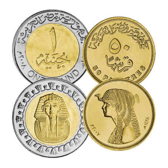 // 5, 10, 25, 50 piastru, 1 liră, Egipt, 2004-2008 // - Monedele ne prezintă farmecul Cleopatrei, măreţia lui Tutankhamon, dar şi celelalte perle ale culturii Egiptului Antic. Una dintre primele civilizaţii mari dă întâlnire statului modern african de ast