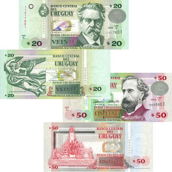 // 5, 10, 20, 50 peso, Uruguay, 1998-2008 // - Uruguay este cea mai dezvoltată ţară sud-americană, care încearcă să dea exemplu bun lumii înconjurătoare. Un excelent exemplu este seria de bancnote pe care apar personaje importante ale culturii, picturii,